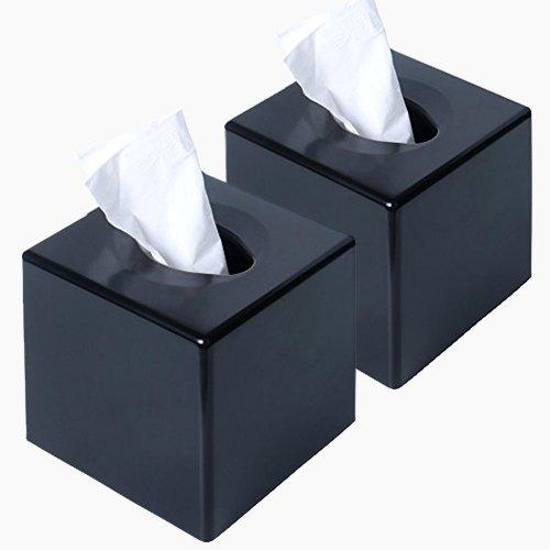 CROWNSTARQI Tissue Box Kleenex Box Cover für Office/Home/Auto Kleenex Halterung black2pcs -