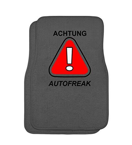 Achtung ! Autofreak - Autonarr, Benzin, Auto, Freak, Wagen, Fahren, Verkehr, PKW, Fahrzeug - Automatten -Einheitsgröße-Mausgrau