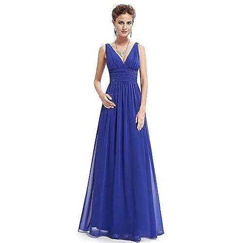 Ever Pretty Womenu0027s Floor Length Sleeveless V Neck Long Wedding Guest  Dresses Sapphire Blue 14UK