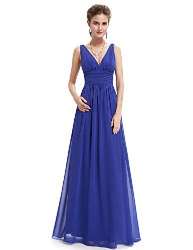 Ever Pretty Damen V-Ausschnitt Lange Chiffon Abendkleider Festkleider 40 Saphirblau