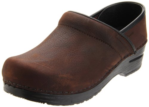 Sanita Damen Prof. Textured oil Clogs, Braun (antique brown 78), 39 EU
