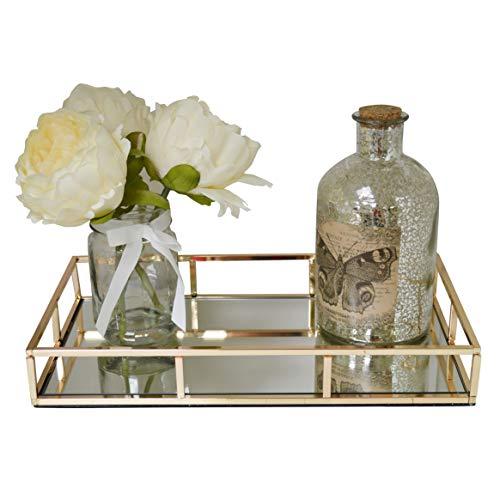 Preisvergleich Produktbild Schminktisch aus Metall,  rechteckig,  mit Spiegelglas,  goldfarben