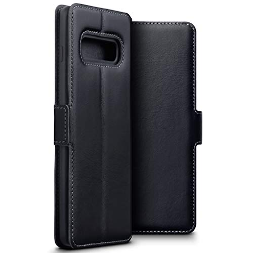 TERRAPIN Coque Samsung S10 Plus Étui en Cuir Naturel - Ajustement Ultra Mince - Support de visualisation - Fentes pour Cartes de crédit - pour Samsung Galaxy S10 Plus - Noir