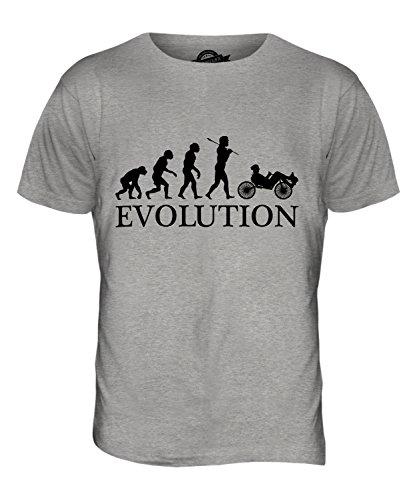 Candymix Liegerad Evolution des Menschen Herren T Shirt, Größe Medium, Farbe Grau Meliert