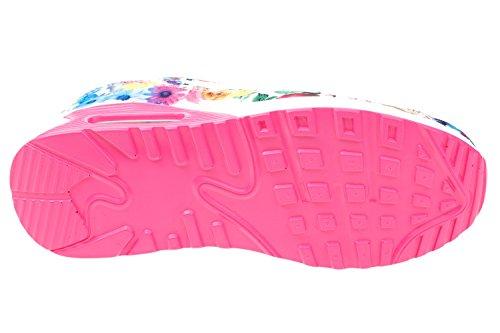 GIBRA® Damen Sneakers, weiß/pink/bunt mit Blumenmuster, Gr. 36-41 weiß/pink/bunt