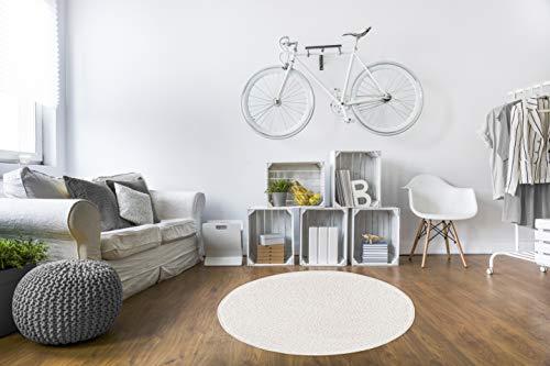 misento Shaggy Hochflor Teppich für Wohnzimmer Langflor, schadstoff geprüft 100 % Polypropylen, Creme-weiß rund 100 cm (Rund Teppich Weiß)