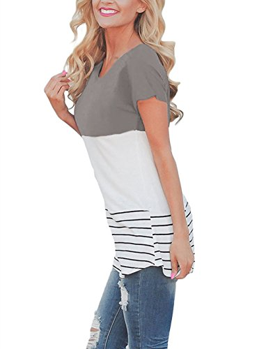 ARESHION Damen Blusen Bluse, Gestreift Gr. Medium, grau (Top Colorblock Tunika)