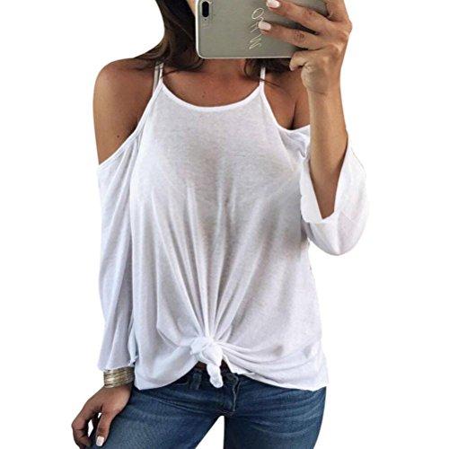 DOLDOA Frauen aus Schulter lange Ärmel Backless Shirt Casual Bluse Tops (EU:44, weiß) (Jrs-socken Damen)