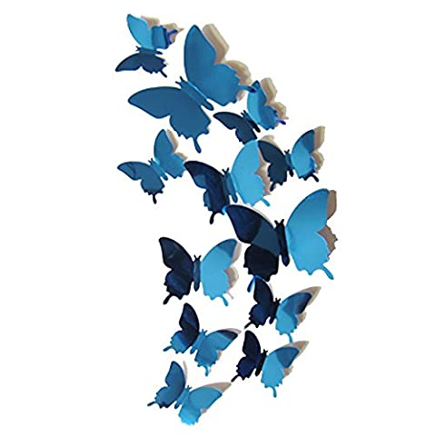 Alxcio 12 Pieces Removable 3d Butterfly Murals Wall Art Stickers Decorations 3d Butterfly Stickers for Home Blue Rose Red Canvas Craft Stickers - Blue