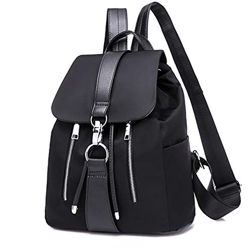 TnXan Casual Daypacks Women Backpack School Bags for Teenager Girls Nylon Zipper Lock Design Black Femme Mochila Female Backpack Fashion Cycling Hydration Packs -