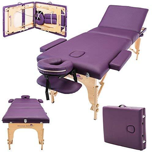 Massage Imperial® - tragbare Profi-Massageliege Kensington - leicht 16 Kg - 3 Zonen - Violett (Lila Massageliege Tragbare)