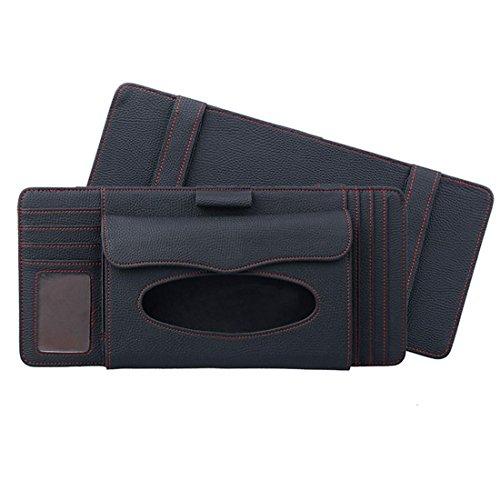 Automovil Autos Car SUV Truck Leather Papier Handtuch Box Card CD Pen Clip Halter 4 Farben (Schwarz Beige Braun) , Black (Gewichtete Papier-handtuch-halter)
