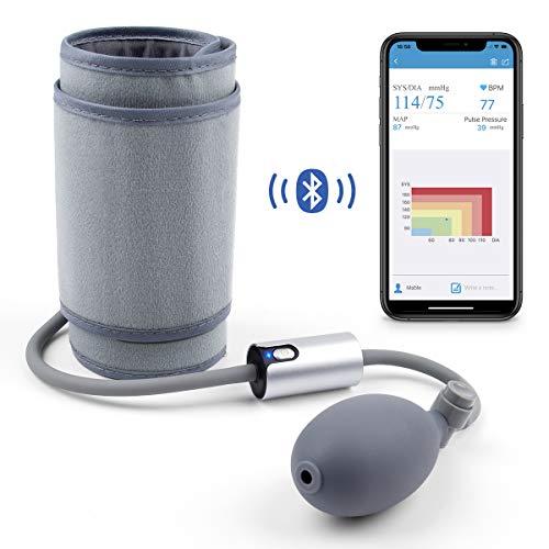 Smart Misuratore Pressione Sanguigna da Braccio, Misuratore Pressione Bluetooth Professionale con Mercurio, Digitale con Custodia Ricaricabile Facile Per App Android iPhone con Apple Health