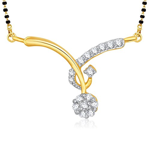 Amaal Mangalsutra Set Gold Pendant With Chain in American Diamond Jewellery For Women MS0815  available at amazon for Rs.190