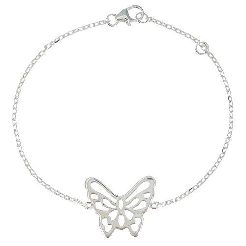 Schmuck Les Poulettes - Silber Rhodium Armband Schmetterling - Einstellbare 16 bis 18 cm (Schmetterling Armband)