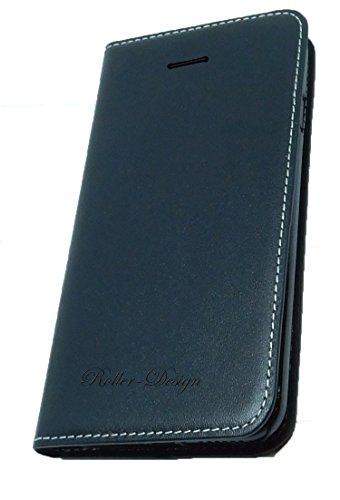 iPhone 7 Echt Leder Handy Case schwarz aus Rindsleder mit Aufstellfunktion und Inlay für Visitenkarten