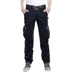 Pantalon Cargo Droit Homme Pantalons Loisir Multipoches Pantalon Travail sans Ceinture Noir 31