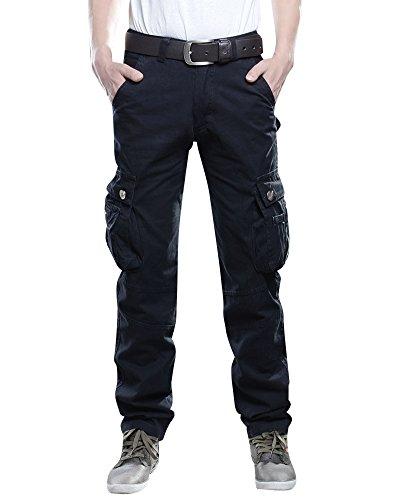 Uomo Cargo Pantaloni con Multi-Tasche Lungo Pantaloni da Lavoro Nero 38