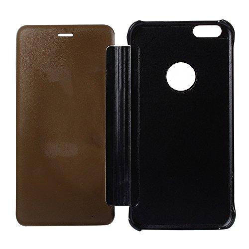 Wkae Case & Cover Pour iPhone 6 Plus & 6s plus Mirror Electroplating Retournement horizontal PC + étui en cuir de protection ( SKU : S-IP6P-0743S ) S-IP6P-0743B