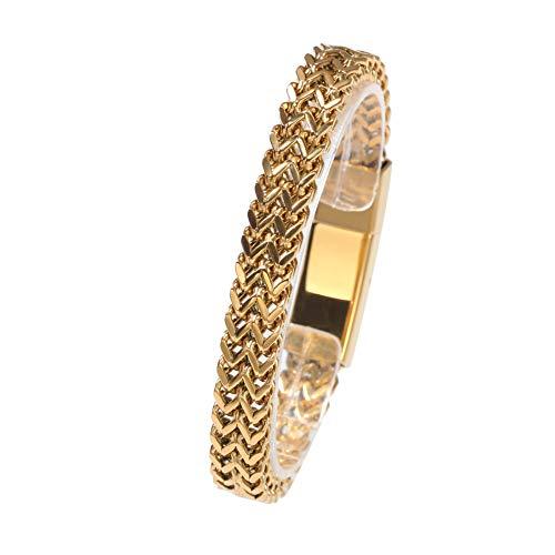 WANZIJING Edelstahl 316L Chunky Franco Armband, Bali Tulang Naga Chain für coolen Herrenschmuck,Gold (Bali Herren-armband)