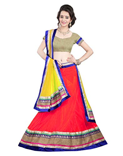 Mira Creation Women\'s Net A-Line Semi-Stitched Lehenga Choli, Free Size (Kedar Red)