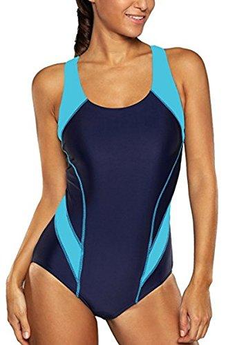CharmLeaks Damen Einteiler Figuroptimizer Racerback Sport Badeanzug Elegance Dunkelblau M