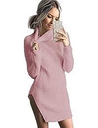 Fuxiang Strickkleid Rollkragen Langarm Lässiges Longpullover Frauen  Sweatshirtkleid Pullover Pulli Damen Warm Strick Kleid Sweater Herbst e021b415d4