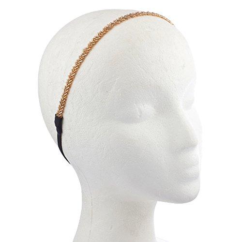lux-accessories-pesca-e-oro-tono-bugle-bead-headwrap-fascia-stretch-elastico