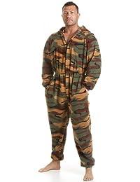 Combinaison pyjama en polaire - motif camouflage - homme - vert - taille S à XL