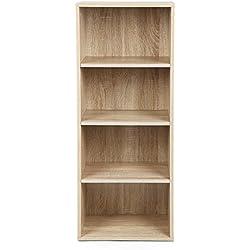 Songmics Estantería para libros Librero con 4 estantes Biblioteca de 4 niveles Multiuso natural LBC104H