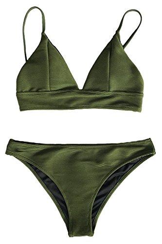 CUPSHE Entspannungsaktivitäten Solid Bikini Anzug, Armee Grün, M