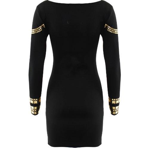 Kurzes Kleid, Damen, mit Goldapplikationen, figurbetont, inspiriert von Kim  Kardashian Schwarz