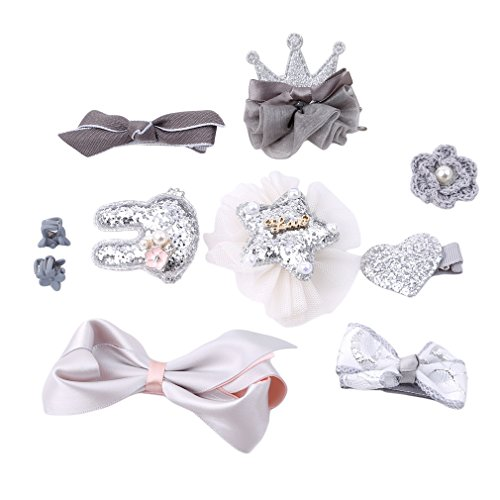 CanViUKK 10 Pcs Kids Girls Hair Bows Clips, Bowknot Crown Hair Barrette Hairpin Wispy Clippy Hair Accessories for Baby Girls Kids Christmas Gift ,Silver gray