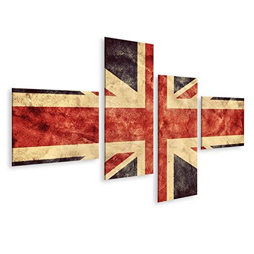 Union Jack Leinwand (bilderfelix® Bild auf Leinwand Das Vereinigte Königreich oder Union Jack Grunge Flagge Vintage Retrostil Hochauflösende hd Qualität Artikel aus meiner Grunge Flaggen Kollektion Wandbild Poster Lei)
