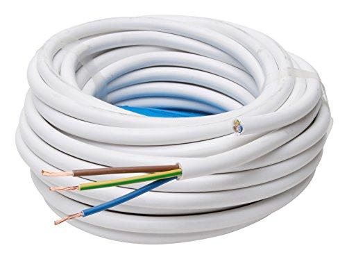 Kopp Schlauch-Leitung 3 adrig, H05 VV-F 3G1.5 mm² (25m) für flexible Verlegung, 300V/500V, Strom-Kabel für mittlere Beanspruchung, weiß, 151825002