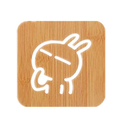 ZLDDE Holz-Zeichentrickpolster Tischmatte Anti-Skid Topf Pads Creative Cute Matte Teacup Mat Cushion Cup Matte Kaninchen (klein) 9.5 x 9.5cm