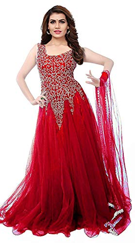 Florence Women\'s Net Red Party Wear Designer Semi-stitched Gown(GC006-New)