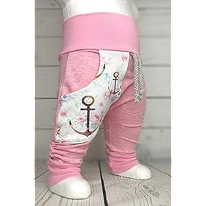Baby Pumphose mit Tasche Gr.50-104 Anker Rosa Weiß handmade Puschel-Design