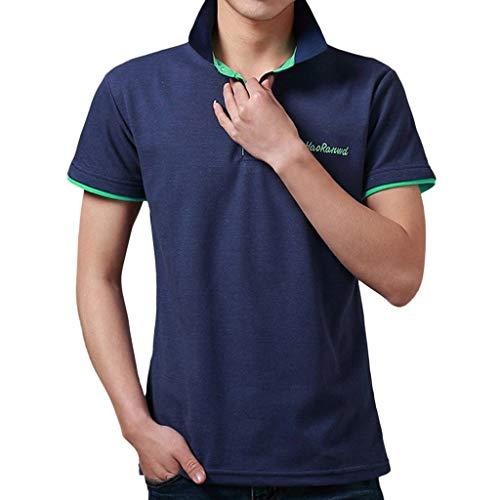 REALIKE Herren Poloshirt Kurzarm Tops Modischem Plain/Einfarbige Slim fit T-Shirt Knopfleiste & Hemdkragen, Oversize für Männer Oberteil Bequem Atmungsaktiv Leicht Blusen -
