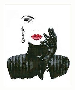Pracht Creatives Hobby DD10-022 Diamond Dotz Lady en Negro, Brillante Imagen de Diamante para Personalizar, Aprox. 42 x 52 cm