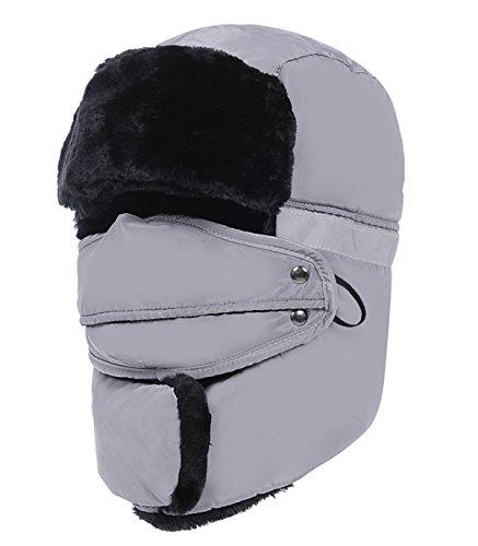 GAZHFERY Unisex Winter Ohr Klappe Trooper Trapper Bomber Hut Warm Halten Während Skaten Skifahren Oder Andere Outdoor-Aktivitäten,Gray-OneSize (Adult Aviator Hut)