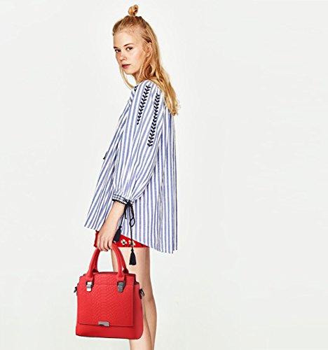 NICOLE&DORIS Damen Handtaschen Einfach Umhängetasche Schultertaschen Henkeltaschen Tasche Crossbody Tote Wasserdicht PU Grün Groß Rot