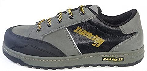 Dickies 22 Skate Shoe Trainer Branded Footwear Composite Toe-Cap Non-Metallic Anti Penetration Midsole Slip Resistant Lightweight Shock Absorbent Heel Oil Resistant Sole Water Resistant Upper Antistatic Sole Padded Collar & Tongue Workwear Retro Hip-Hop Skater Funky Cool Suitable For Many Uses FC23400 Black/Grey Size UK 11.5