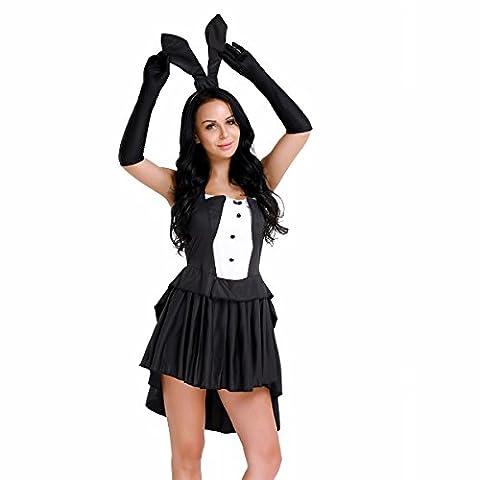 IINIIM Robe Asymétrique Noir Costume de Jeu de Rôle Toussaint Lapine Femme Fille Déguisement Cosplay Halloween Taille haute 36-42 Noir M(38)
