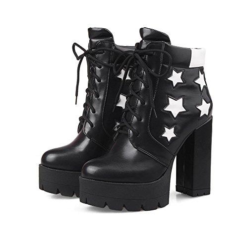 Material Damen spitze Schwarz Zehe Weiches Farbe Niedrig Rund Gemischte Stiefel Aalardom qPU4n