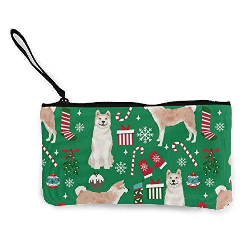 Akita Dog Breed Presents Multifunctional Portable Canvas Coin Purse Phone Pouch Cosmetic Bag,Zippered Wristlets Bag