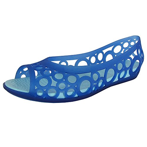 Crocs Womens Adrina Open Toe Slip On Flat Shoes, Cerulean Blue/Ice Blue, US 5 -