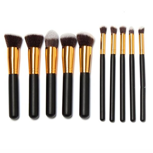 Brush Cosmétique, Kingwo 10 pcs pinceaux de maquillage Set + Dessinez chaîne Sac de maquillage (Or)