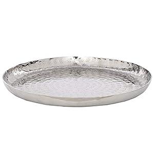 Butlers Oriental Lounge Deko-Teller Ø 28cm – Servierteller in Silber-Optik – gehämmerte Schale aus vernickeltem…