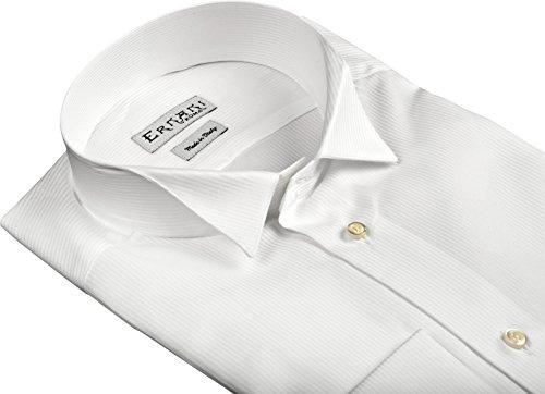 Ernani Camicia Pique' Bianco Slim Fit, collo diplomatico, polsi gemelli, uomo - Made in Italy - Bianco
